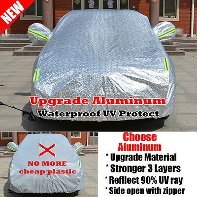 3 Layers Double Thick Waterproof Car Cover Rain Resistant UV Dust protection UK