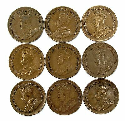Lot of 9 1920 - 1928 Canada Copper 1c Cent Pennies F Fine - VF #99186 X R