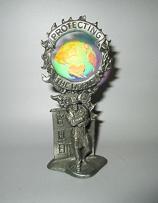 Gallo Pewter Protecting The World Fireman & Baby Hologram 1992 Ridolfi Signed