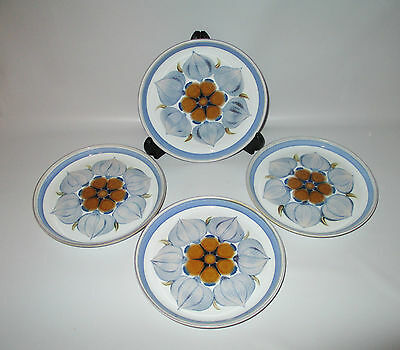 Denby Langley Chatsworth 4 Bread & Butter Dessert Plates Stoneware 1960s England