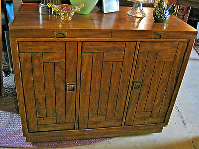 Drexel Vintage Buffet Rolling Bar Campaign Cabinet Woodbriar Collection