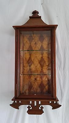 Antique Walnut & Glass Display Cabinet,Wall Mount,3 Shelf,Re-purposed Clock Case