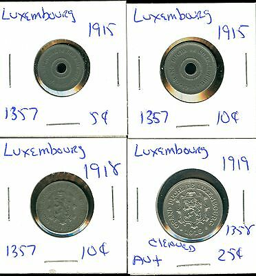 Luxembourg - 1915 5 & 10 Centimes- 1918 10 Centimes- 1919 25 Centimes - 4 Coins