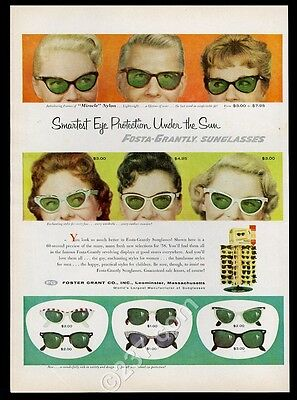 1958 Foster Grant sunglasses 12 styles men women photo vintage print ad