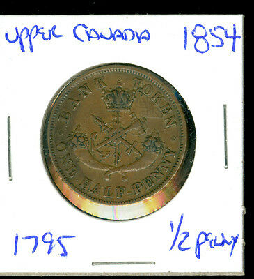 Bank Of Upper Canada - 1854 - 1/2 Penny