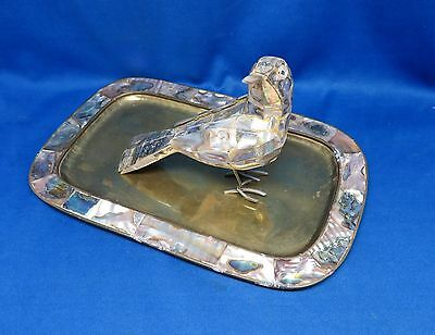 Vintage Hand made Abalone Pearl Shell Bird Figurine & Taxco Mexico Brass Tray