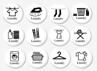 Laundry Room Cabinet Knobs - Black Icon on White Drawer Pull