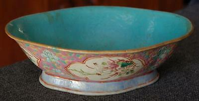 Lovely Antique Chinese Export Hand Painted Bird Floral Famille Rose Oblong Bowl