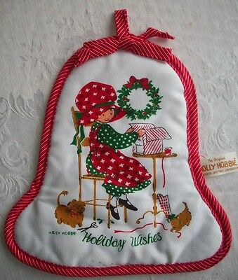 Holly Hobbie wrap present Christmas Holiday Wishes Potholder American greetings