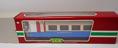 LGB  35670 Passenger Coach Blue/Cream with Metal Wheels Lighted Mint G Scale
