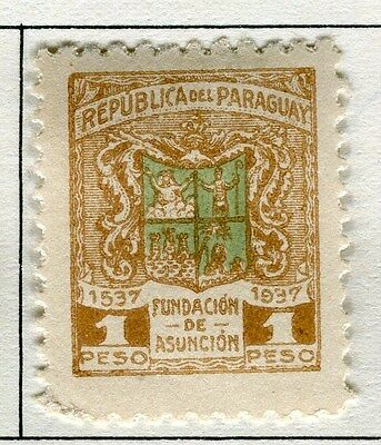 PARAGUAY;    1937 early Asuncion issue Mint hinged 1P. value