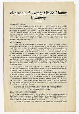 REORGANIZED VICTORY DIVIDE MINING Co. 1927 pamphlet w INSERT Goldfield NV