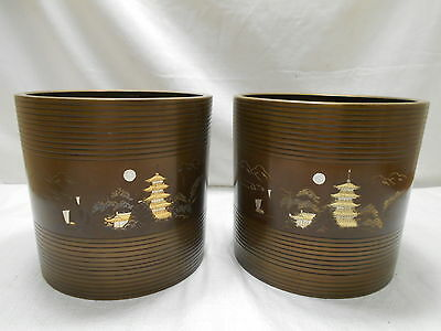 Vintage Brass PAIR Temple Hibachi Incense Burners Japanese #19