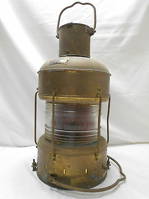 "Vintage Copper Oil Ship's Light ""NOT UNDER COMMAND"" Lamp Red Japanese 1970  #43"