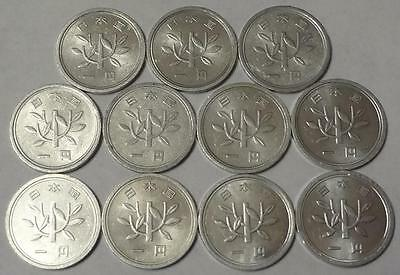 Yr.31-54 (1956-1979) JAPAN, YEN, LOT OF 11 DIFFERENT COINS