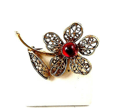 Vintage Beautiful Filigree Petals with Red Cabochon in Center of Pin  1940's