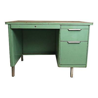 Vintage INDUSTRIAL TANKER DESK teal office metal steel 50s General Fireproofing