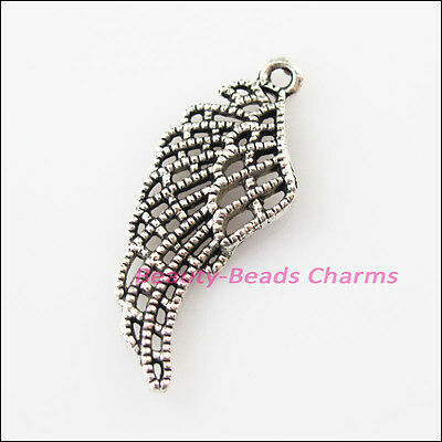 8 New Feather Leaf Wings Tibetan Silver Tone Charms Pendants 13x31.5mm
