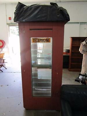 D11087 Old Antique Red Dome Top Telephone Box for Restoration
