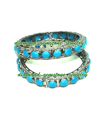 85.30cts-ROSE-CUT-DIAMOND-TURQUOISE-VICTORIAN-LOOK-WEDDING-SILVER-BRACELET-x-2Ps