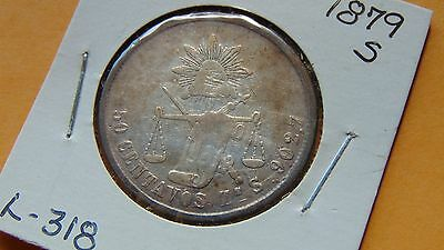 Mexico 50 Centavos, 1879 Zs Zacatecas S Silver Coin cap and Ray