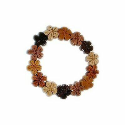 Hawaiian Jewelry Plumera Flower Koa and Mahogany Wood Bracelet