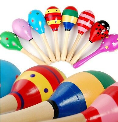 Colorful Wooden Maracas Baby Kids Musical Instrument Rattle Shaker Party Toy New