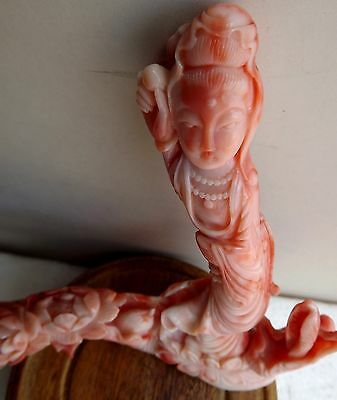 Superb old Lg Chinese carved rose coral Quan-yin,Chinese Coral  Carving Lady