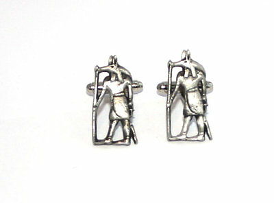 Egyptian God Anubis Cufflinks in Fine English Pewter, Handmade, gift boxed  (h)