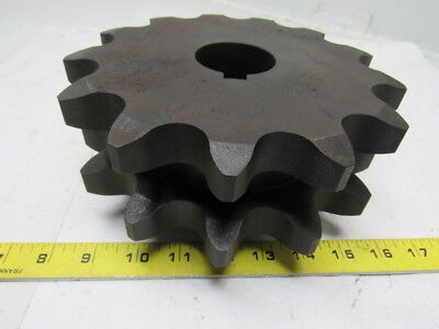 "D140B13 Double Row Sprocket - 140 / 1-3/4"" 1-15/16 Keyed Bore 13 Teeth Steel"
