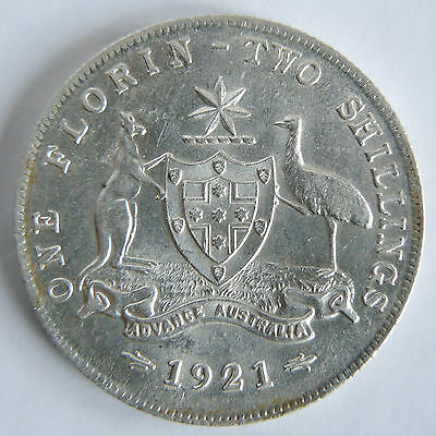 Australian Ef 1921 Florin Kgv George V Silver Coin Lustre Scarce High Value