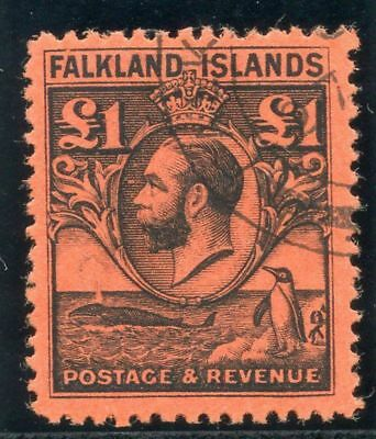 "Falkland Islands 1929 ""Whale & Penguin"" £1 black/red very fine used. SG 126."