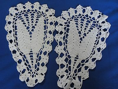 2 Matching Vintage Hand Crochet Doilies Pretty Leaf Type Design