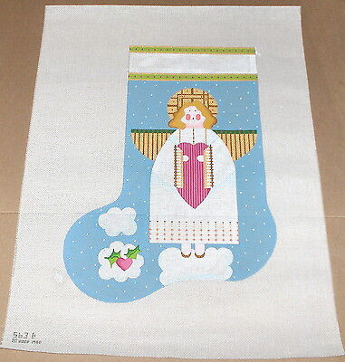 "Melissa Shirley HP ""Angel w/ Heart"" Christmas Stocking Needlepoint Canvas"
