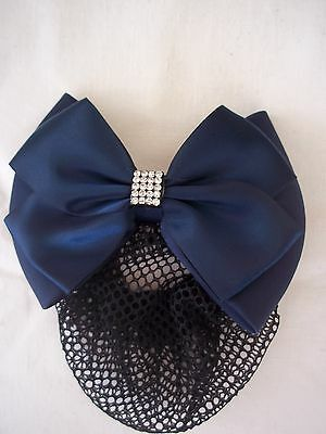 Horse Riding Crystal Dressage Bow and Hair Net - Navy - by Equetech