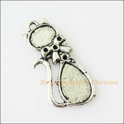 10 New Bow Animal Cat Tibetan Silver Tone Charms Pendants 13x30mm
