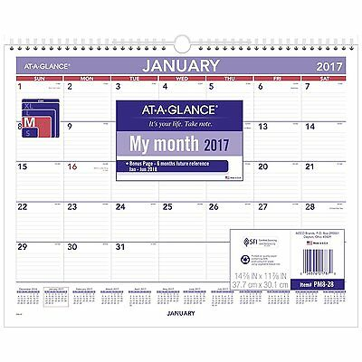 """AT-A-GLANCE Wall Calendar 2017, Monthly, 14-7/8 x 11-7/8"""", Wirebound PM828"""