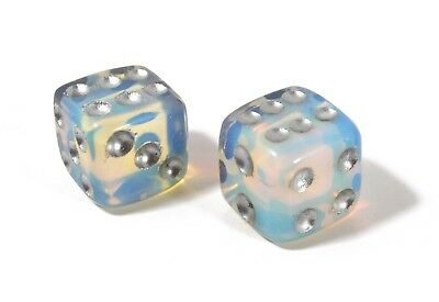 Dice Pair Opalite Gemstone 15mm d6 Hand Carved Free Pouch