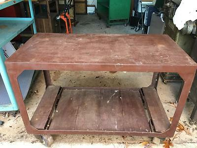 Vintage Industrial Iron Work Welding Table Rolling Shelves