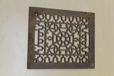Antique Victorian Fancy Cast Iron Heater Vent Grate or Cover 9 3/4 x 11 3/4