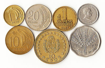Uruguay - 7 Different Coins Lot #755