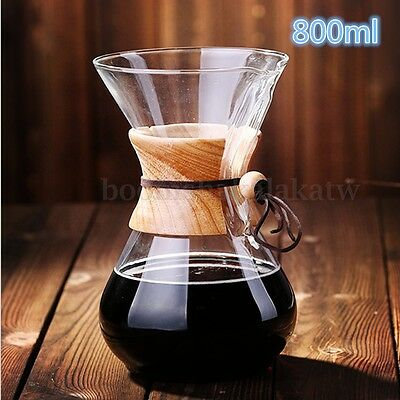 800ml 6 Cups Classic Glass Coffee Maker Hand Drip Chemex Pour Over Coffeemaker