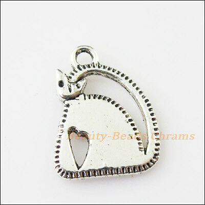 5 New Smooth Animal Cat Tibetan Silver Tone Charms Pendants 17x23mm