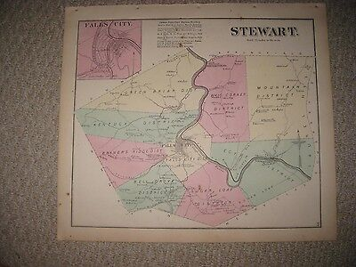 Antique 1872 Stewart Township Falls City Fayette County Pennsylvania Handclr Map
