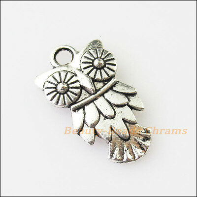 12 New Animal Owl Birds Tibetan Silver Tone Charms Pendants 11x20mm
