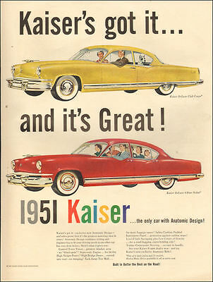 1950 Classic Car AD KAISER DeLuxe yellow Club Coupe , red 4 door sedan 040517