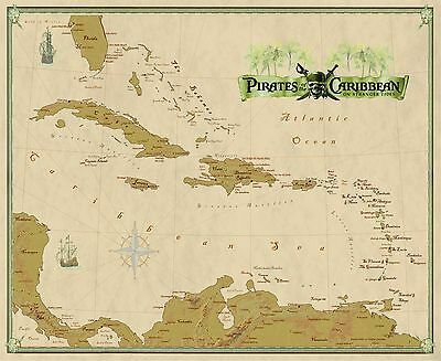 """Pirates of the Caribbean Wall Map Mural and Poster """"On Stranger Tides"""""""