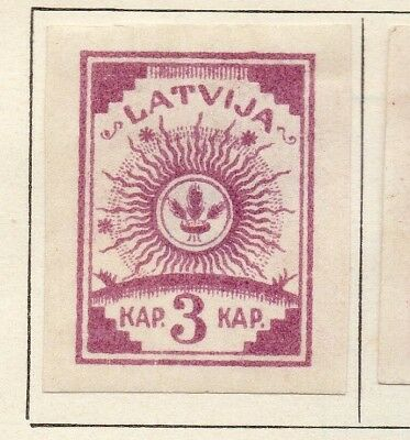 Latvia 1919 Early Issue Fine Mint Hinged 3k. Imperf 142709