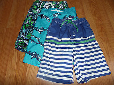 Boy Swim Shorts Trunks Gap Stripe Gymboree Shark & TCP Artsy 8-9-10