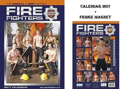 Firefighters Fireman Official Calendar 2017 + Firefighters Fridge Magnet